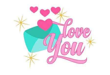Vector cartoon illustration of love letter. Lettering love you text.