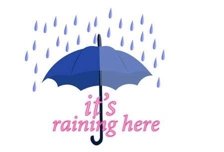 Vector cartoon illustration of umbrella with rain. Lettering its raining here.