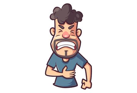 Vector cartoon illustration of a man crying in pain while clutching his stomach.