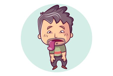 Vector cartoon illustration of tired man tongue out.