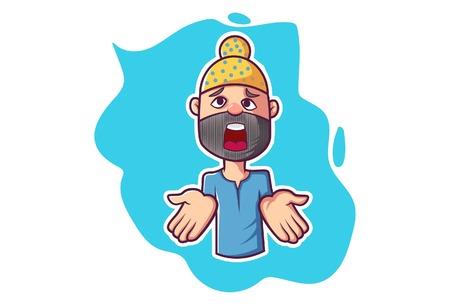 Vector cartoon illustration. Punjabi man is showing his hand.