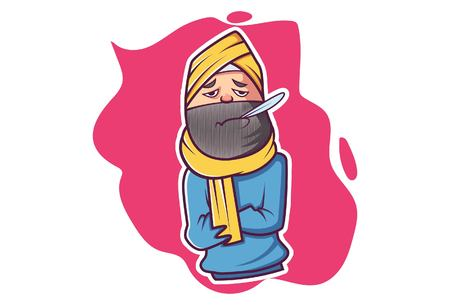 Vector cartoon illustration. Punjabi man is checking his temperature with thermometer.