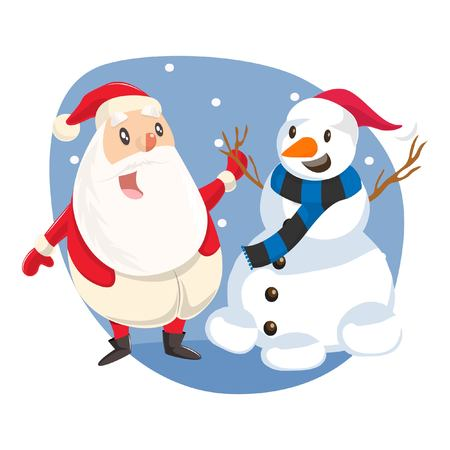 Vector cartoon illustration of cute Santa standing with snowman. Isolated on white background.