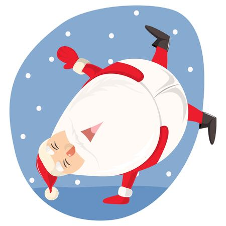 Vector cartoon illustration of cute Santa dancing. Isolated on white background.