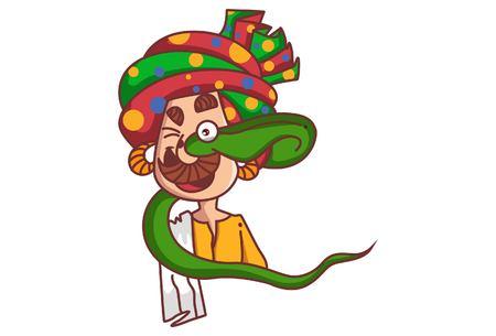 Vector cartoon illustration. Snake charmer being eaten by cobra snake. Isolated on white background.
