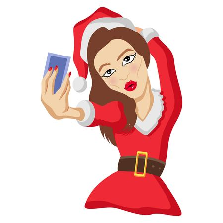Cute Santa Claus Woman Taking Selfie. vector Illustration. Isolated on white background.