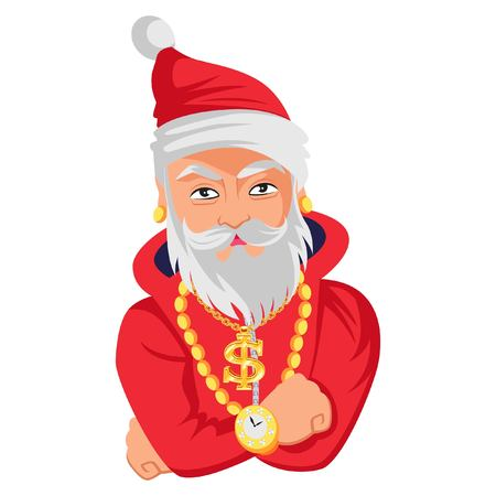 Cute Santa Claus dressed up with gold accessories. Vector Illustration. Isolated on white background.