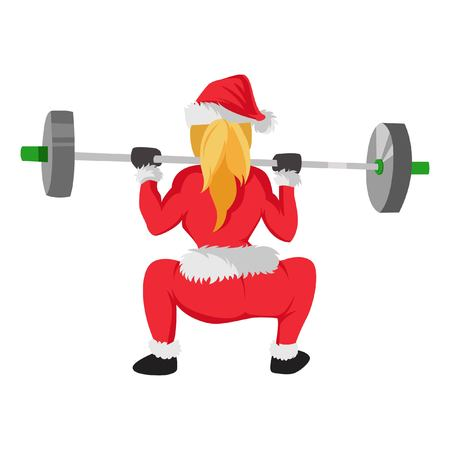 Cute Santa Claus Woman Exercising. vector Illustration. Isolated on white background.