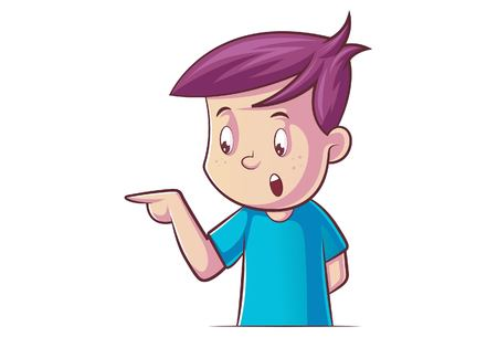 Vector cartoon illustration of boy pointing finger. Isolated on white background.