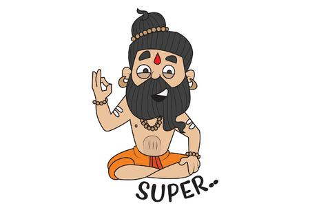 Yoga Guru Baba Ram dev saying super  . Vector Illustration. isolated on white background. Illustration