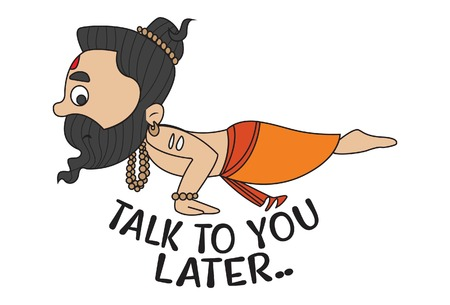 Yoga Guru Baba Ram dev saying Talk To you Later. Vector Illustration. isolated on white background.