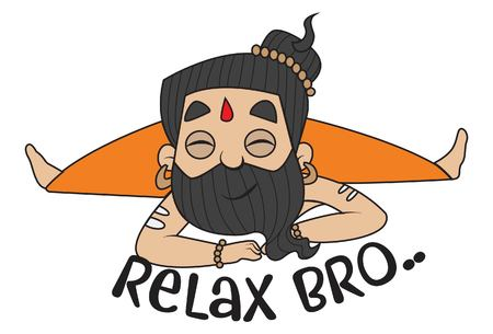 Yoga Guru Baba Ram dev saying relax Bro. Vector Illustration. isolated on white background.