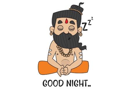 Yoga Guru Baba Ram dev saying Goodnight. Vector Illustration. isolated on white background. Vettoriali