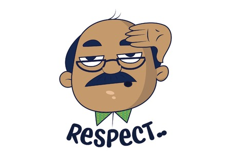 Bald Man saluting for respect. Vector Illustration. Isolated on white background.
