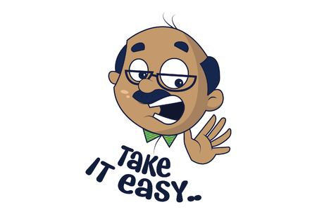 Bald Man saying take It easy. Vector Illustration. Isolated on white background.