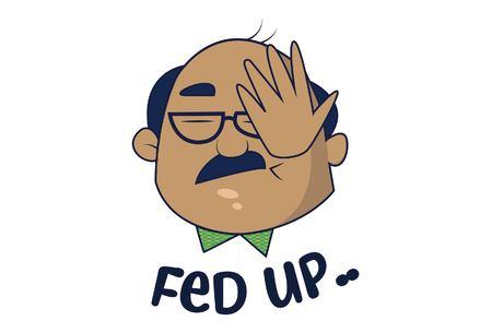 Bald Man saying Fed up. Vector Illustration. Isolated on white background.