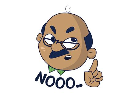 Bald Man saying No. Vector Illustration. Isolated on white background. Illustration