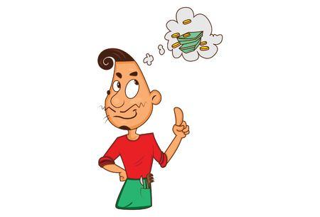 Vector cartoon illustration of barber thinking.  Isolated on white background. Illustration