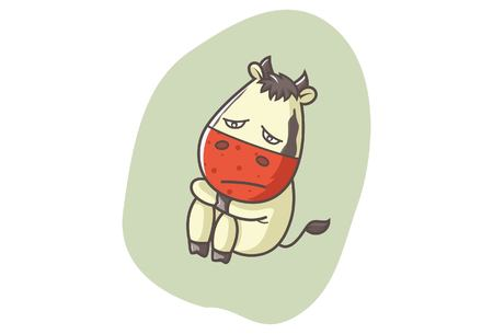 Vector cartoon illustration of cute cow sad. Isolated on white background.