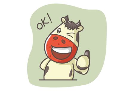 Vector cartoon illustration of cute cow saying ok with thumbs up sign. Isolated on white background.