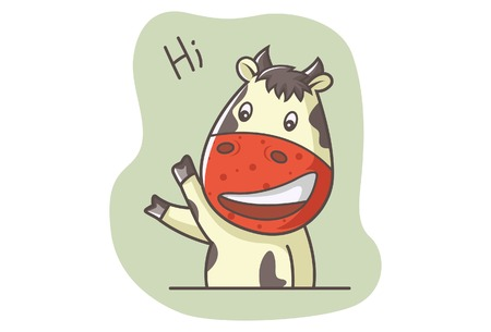 Vector cartoon illustration of cute cow saying hi. Isolated on white background. Illustration