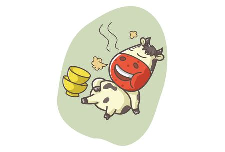 Vector cartoon illustration of cute cow burping after eating food. Isolated on white background. Illustration