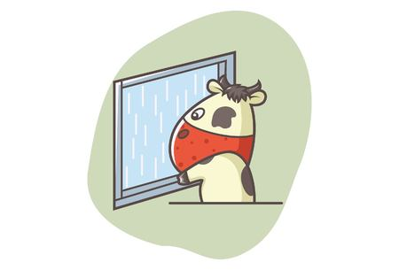 Vector cartoon illustration of cute cow looking outside the window. Isolated on white background.