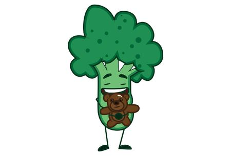 Vector cartoon illustration of cute broccoli with teddy-bear . Isolated on white background.