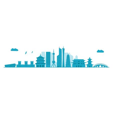 China Skyline. Detailed Vector illustration.
