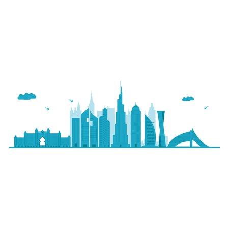 Horizonte de Dubai. Ilustración vectorial detallada. Aislado sobre fondo blanco. Ilustración de vector