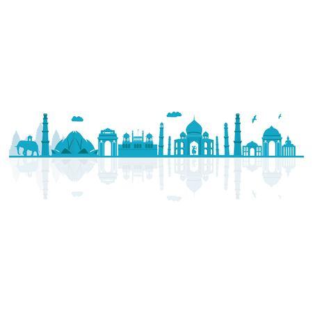 Vector illustration. India skyline detailed silhouette. Illustration