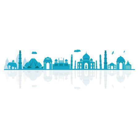 Vector illustration. India skyline detailed silhouette.