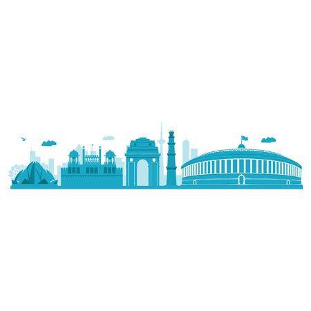 Vector cartoon illustration of Delhi skyline. Isolated on white background. Ilustração