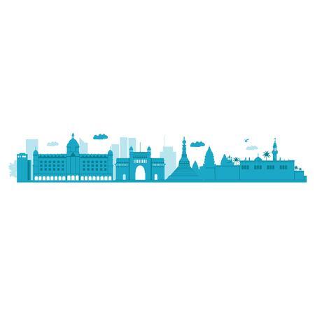 Mumbai Skyline. Vector Illustration. Highly Detailed Vector.