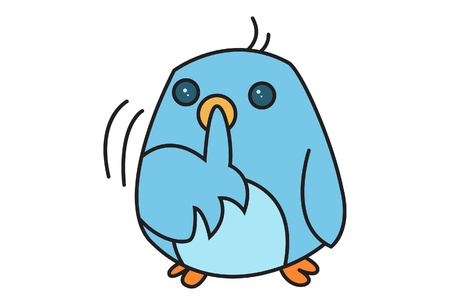 Vector cartoon illustration of cute bird signing to be quiet .Isolated on white background.