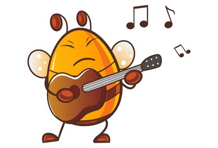 Vector cartoon illustration of cute honey bee playing guitar.Isolated on white background. Ilustrace