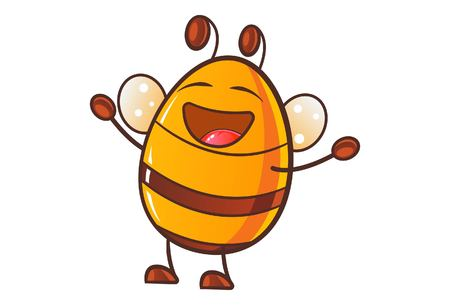 Vector cartoon illustration of cute honey bee laughing.Isolated on white background.