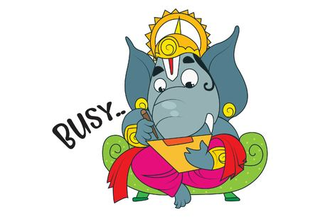 Vector cartoon illustration of lord ganesha busy . Isolated on white background.