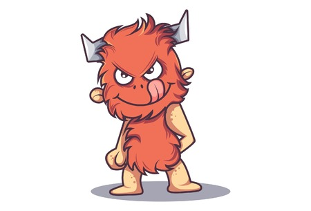 Vector cartoon illustration of cute fur monster a devil smile and tongue stuck out. Isolated on white background.