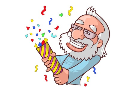 Vector cartoon illustration of cute narendra modi enjoy party. Isolated on white background. Иллюстрация