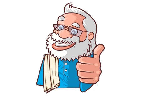 Vector cartoon illustration of cute narendra modi showing thumbs up sign. Isolated on white background.