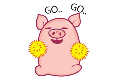 Vector cartoon illustration of cute pig cheering. Isolated on white background.