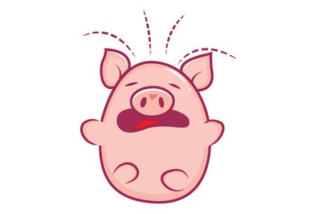 Vector cartoon illustration of cute pig sad. Isolated on white background.