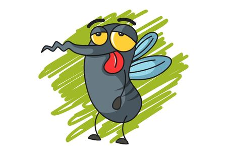 Vector cartoon illustration of cute mosquito tired. Isolated on white background.