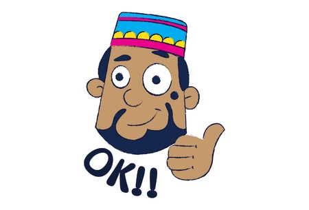 Vector cartoon illustration of cute muslim man saying ok. Isolated on white background.