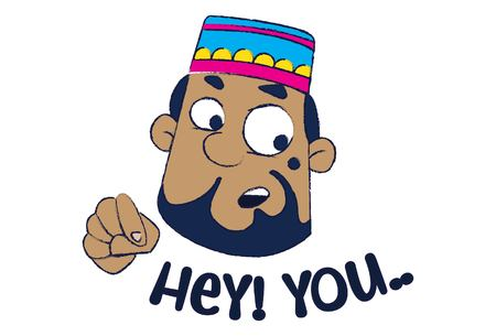 Vector cartoon illustration of cute muslim man saying hey you!.Isolated on white background. Illusztráció