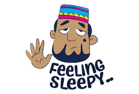 Vector cartoon illustration of cute muslim man saying feeling sleepy.Isolated on white background.