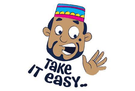 Vector cartoon illustration of cute muslim man saying take it easy.Isolated on white background. Illusztráció