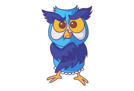 Vector cartoon illustration of cute Owl annoyed. Isolated on white background. Çizim
