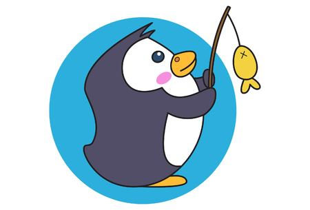 Ilustración de dibujos animados vector de lindo pingüino pescar. Aislado sobre fondo blanco.